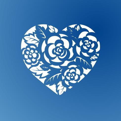 Mallhjärta med rosor för laserskärning.