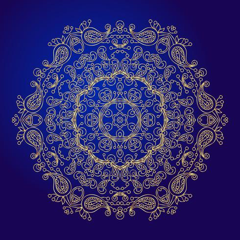 Mandala, amulet. Esoteric gold symbol on a blue background. vector