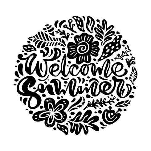 Svart bläckblomma Vektor hälsningskort med text Välkommen sommar. Isolerad platt illustration på vit bakgrund. Skandinavisk handgjord naturdesign