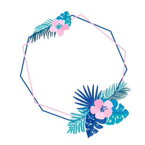 Ghirlanda estate geometrica con fiore di palma tropicale e posto per il testo. Struttura del giardino di vettore astratto erba piatta. partecipazione di nozze, illustrazione floreale di monstera dell'elemento della decorazione isolata