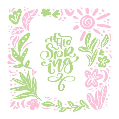 Vector la struttura scandinava floreale per la cartolina d'auguri con il testo scritto a mano ciao la primavera. Illustrazione scandinava piatta isolata su priorità bassa bianca. Disegno di natura disegnata a mano