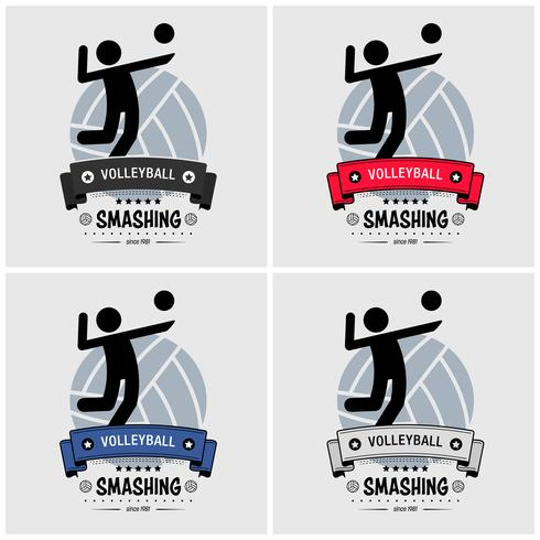 Design de logotipo de clube de voleibol. vetor