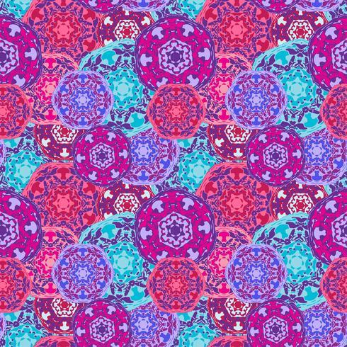 Modèle sans couture gypsy des mandalas ronds multicolores abstraits L'origine ethnique