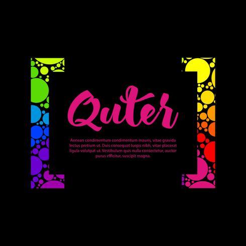 Abstraktes Regenbeltextboxdesign mit bunter Klammer und Ihrem Text
