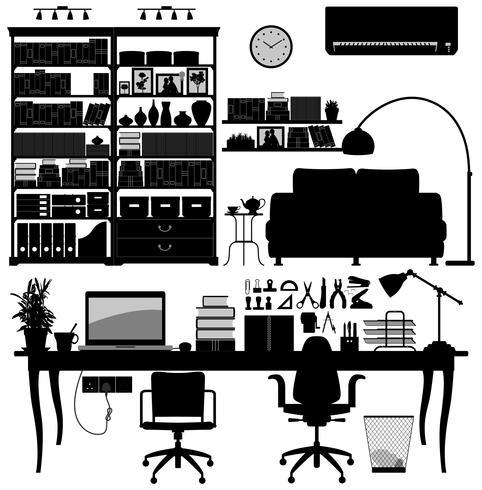 Home Office-Bibliothek Bildsatz