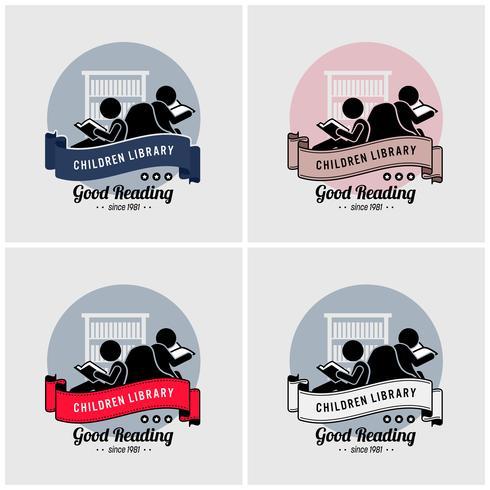 Design de logotipo de biblioteca de crianças.