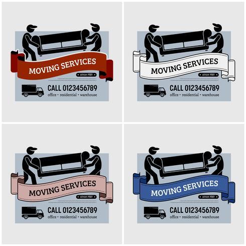 Création de logo de société de services de déménagement. vecteur