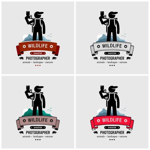 Design de logotipo de fotógrafo de vida selvagem e natureza.