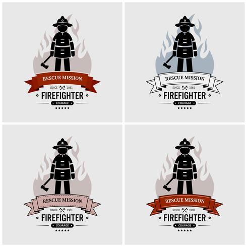 Fireman logo design.  vector