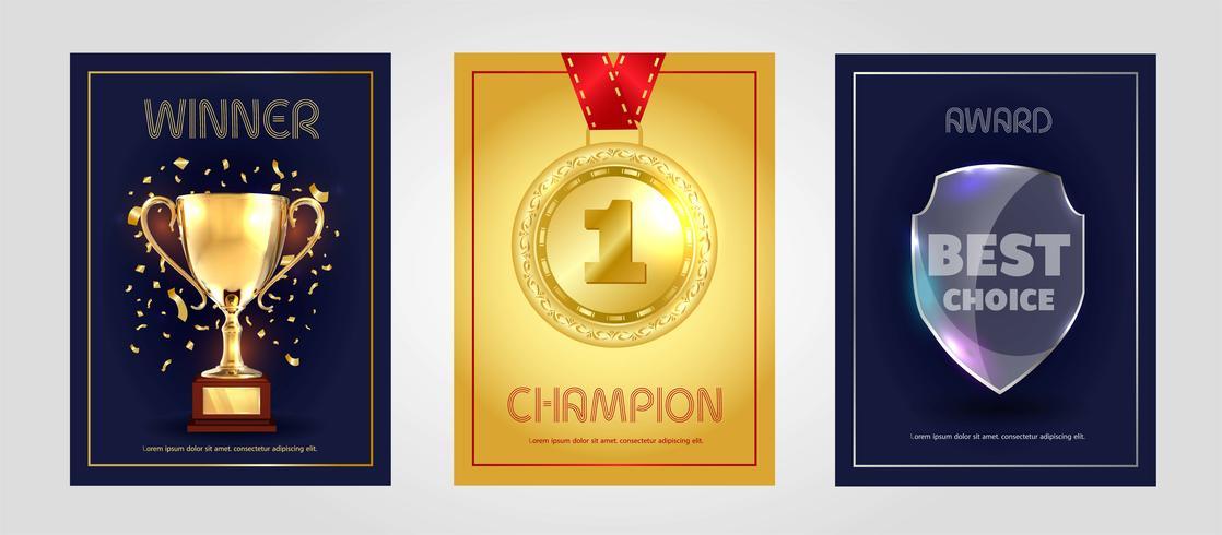 Poster design vettoriale per il vincitore, il campione e il premio per la scelta migliore.
