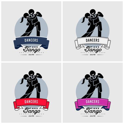 Clube de dança ou design de logotipo de classe. vetor
