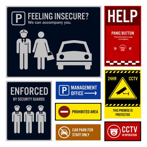 Segurança do parque de estacionamento e sinais de segurança.