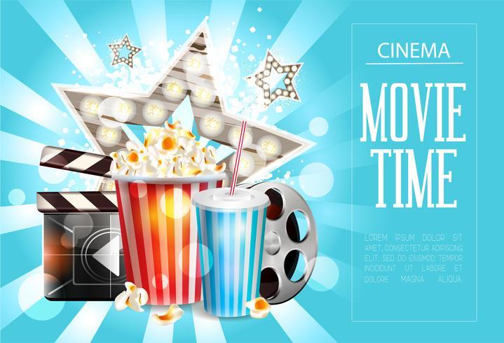 Cinema poster design. Vector template banner.