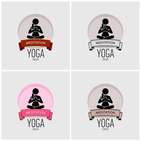 Yoga logo design.  vector