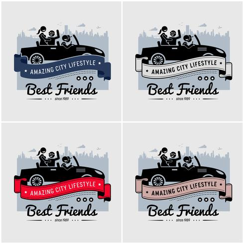 Migliori amici e amicizia logo o banner design.