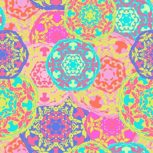 Modelo inconsútil gitano de mandalas redondas multicoloras abstractas. vector