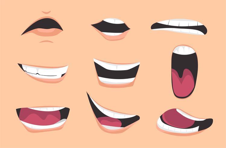 Set di espressioni di bocca di cartone animato. illustrazione