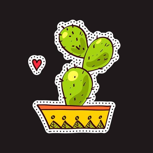 Parches de moda, broches con cactus. vector