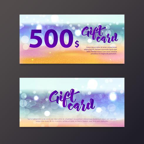 A gift certificate to the sea and the beach is out of focus. vector