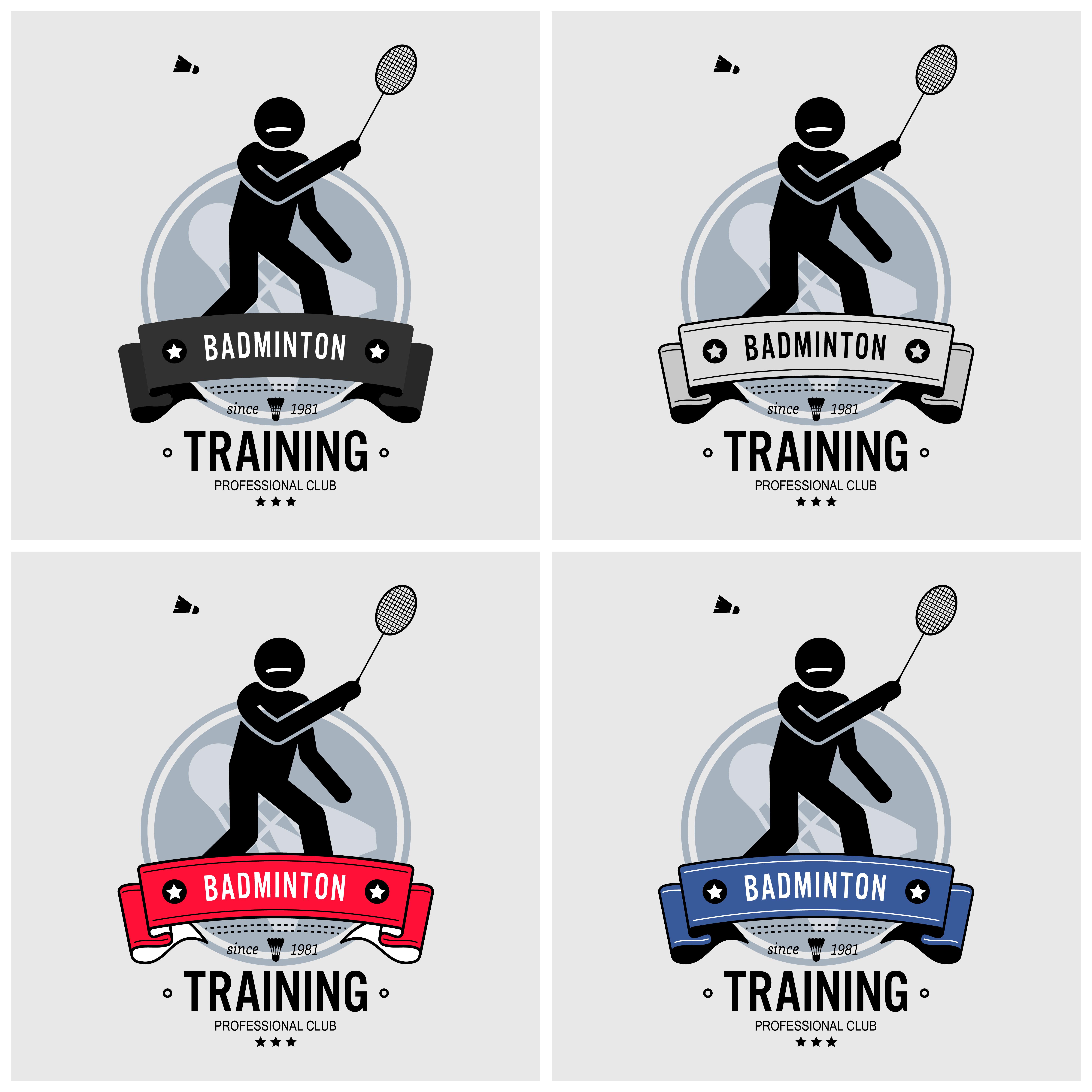 Badminton club logo design. - Download Free Vectors