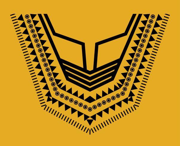 Geometrische, tribalfarbene Schmuckkragenkleidung. Halslinie Designs
