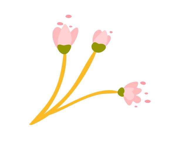 Netter Vektor lokalisierte Blume auf weißem Hintergrund