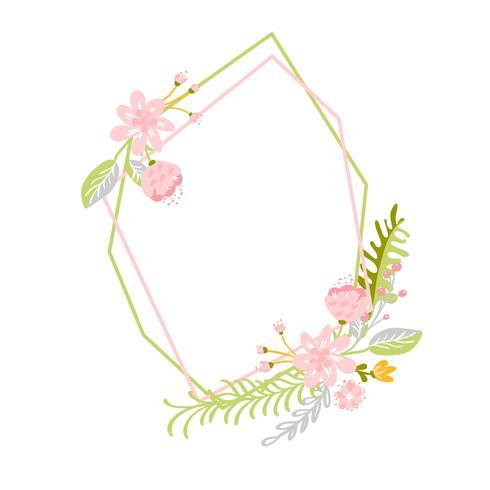 Geometrisk vårkrans med blomma
