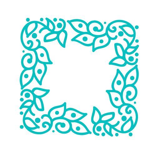 Marco del flourish de la caligrafía monoline del vector de la turquesa para la tarjeta de felicitación. Vintage mano dibujado elementos florales monograma. Diseño de doodle de bosquejo con lugar para el texto. Ilustración aislada