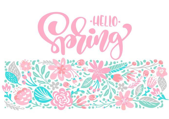 Il mazzo dei fiori vector la cartolina d'auguri con la citazione scritta a mano della primavera del testo ciao