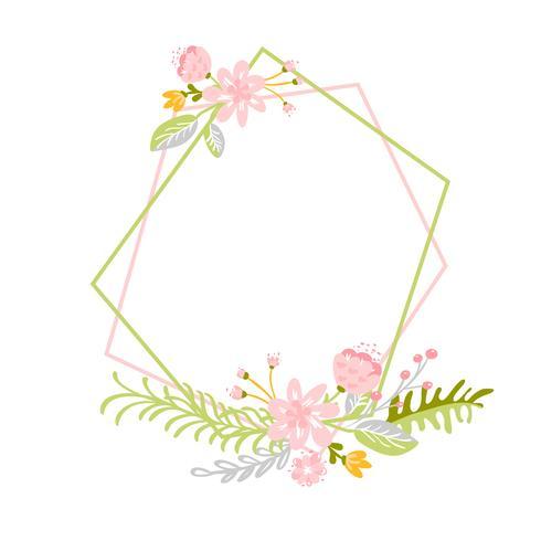 Geometrische lente krans met bloem. Vlak kruid abstract vectortuinframe