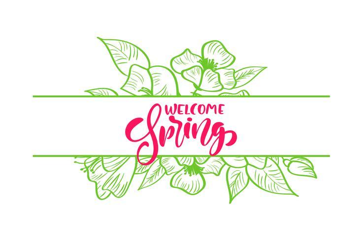 Bukett blommor vektor hälsningskort med röd handskriven text Hello Spring