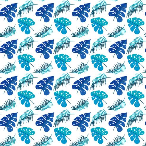 Tropical Leaves. Seamless Texture with Bright Hand Drawn Leaves of Monstera