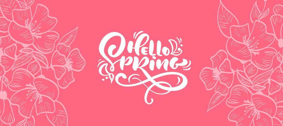 Vektor blommig ram för hälsningskort med text Hello Spring