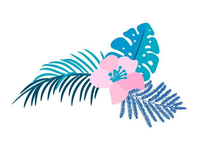 Vector de verano aislado flor plana ramo tropical palm monstera