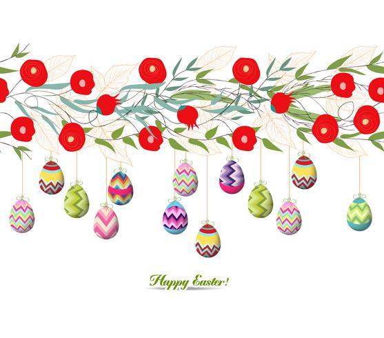 Scheda di pasqua felice, uova colorate
