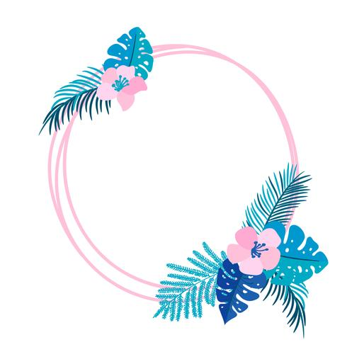 Geometrische zomer krans met tropische palm bloem en plaats voor tekst