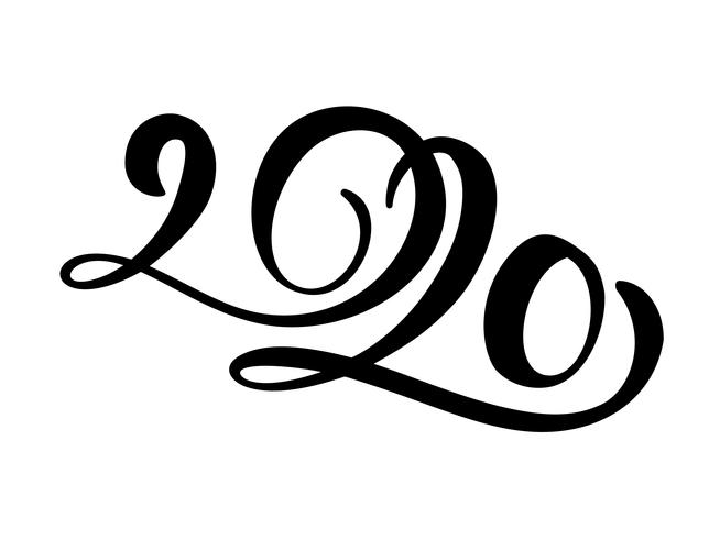 Hand drawn vector lettering calligraphy black number text 2020