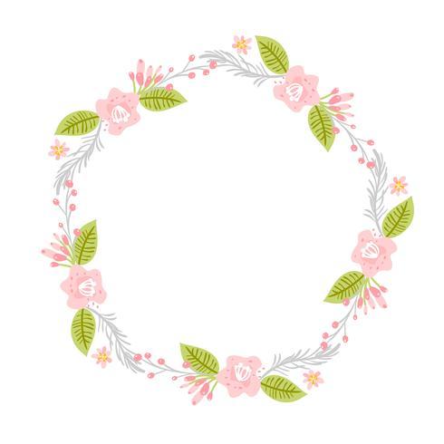 Couronne d'herbes de fleurs de printemps. Cadre de jardin plat abstrait Vector