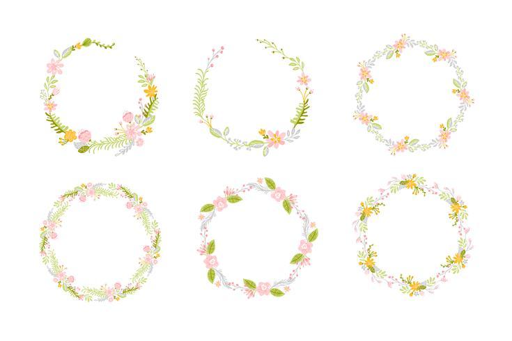 Set of Spring flower herbs wreath. Flat abstract Vector garden frame