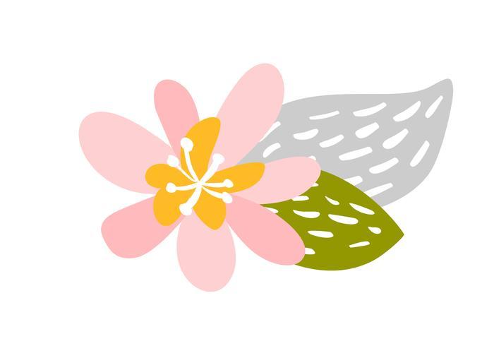 Gullig vektor isolerad Blomma på vit bakgrund