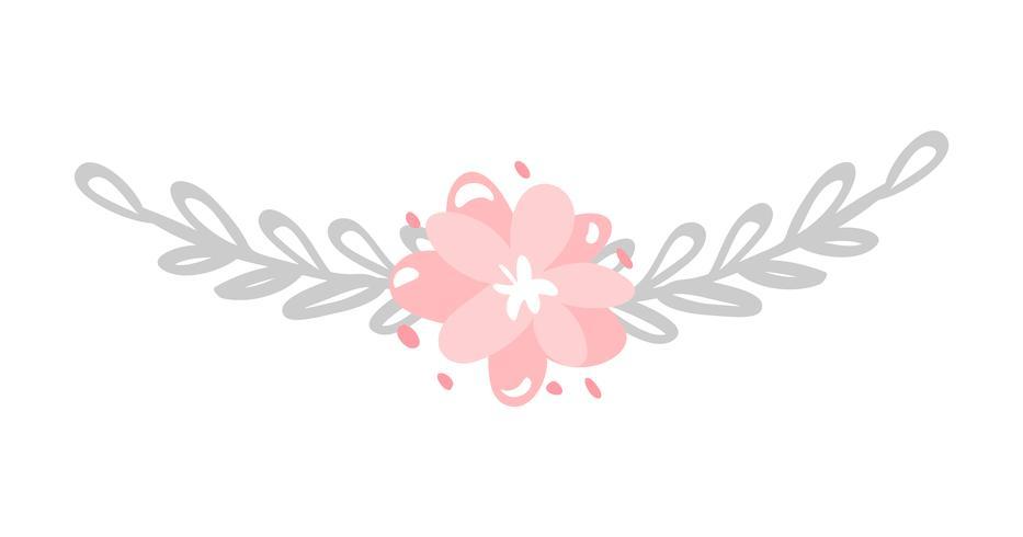 Fiore isolato vettore sveglio su fondo bianco