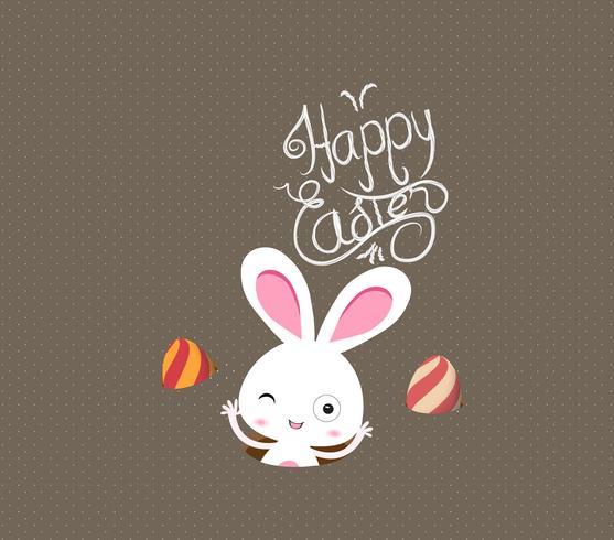 Ilustração de cartões de Páscoa feliz com coelhinho da Páscoa