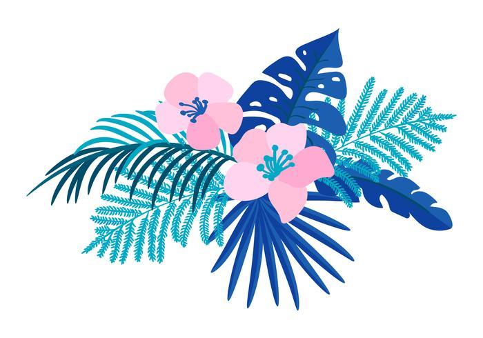 Vector il monstera tropicale della palma del mazzo piano isolato fiore dell'estate