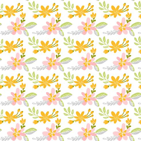 Padrão sem emenda de vetor com buquê de flores plana e folhas
