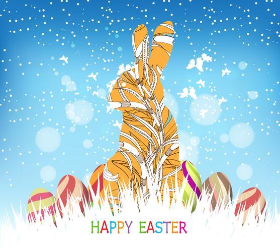 Buona Pasqua con cornice coniglietto floreale di doodle