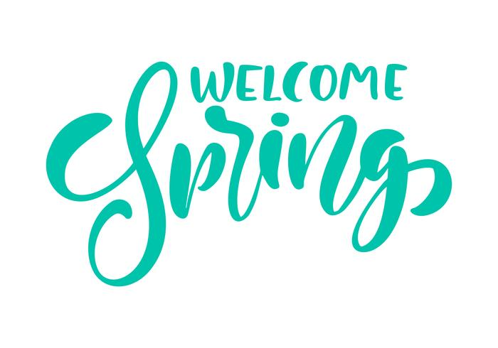 Calligraphy lettering phrase Welcome Spring. Vector Hand Drawn Isolated text.