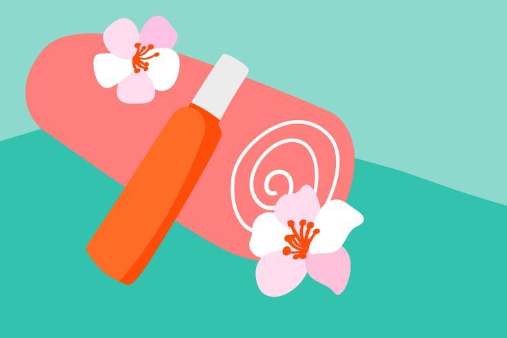 Vector Oranje katoenen handdoek en zonnescherm bodylotion in een oranje buis