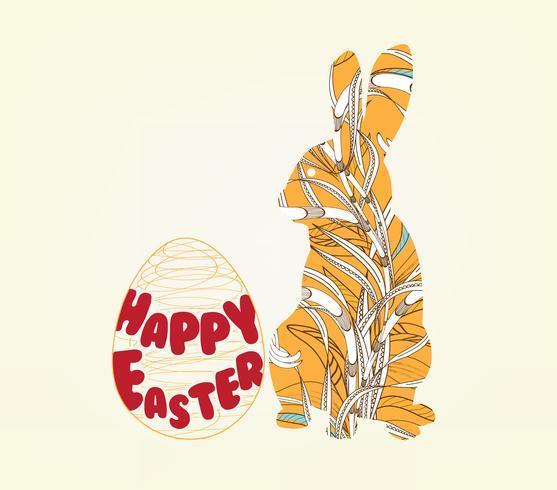 feliz pascua con marco de foto de conejito floral doodle