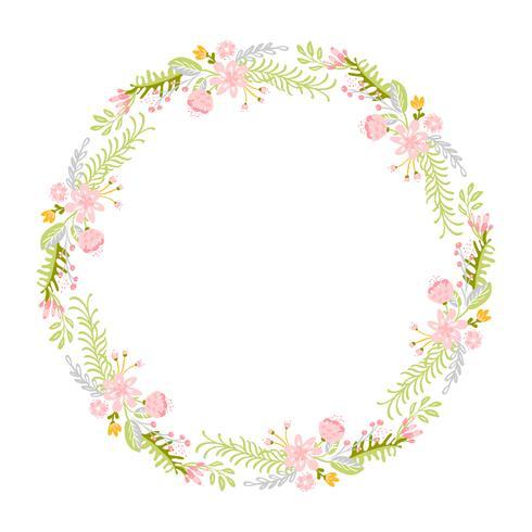 Corona de hierbas flor de primavera. Vector plano abstracto marco de jardín
