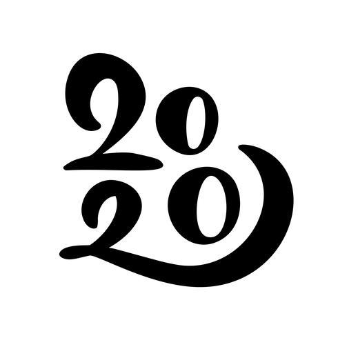 Feliz ano novo mão desenhada vector rotulação texto 2020.